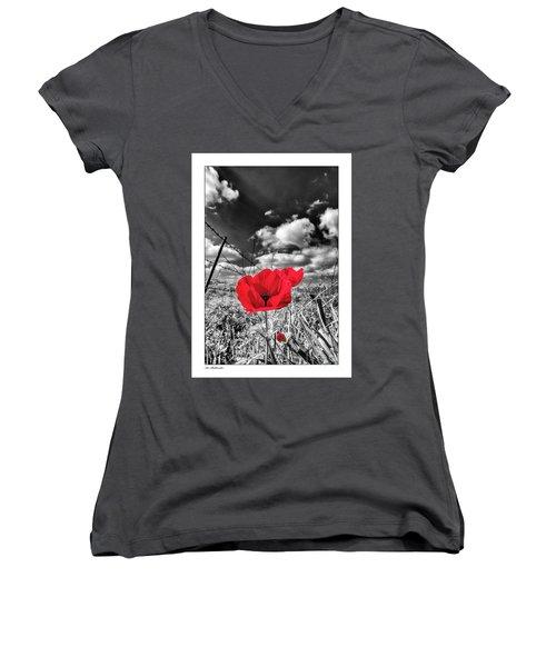 The Red Spot Women's V-Neck T-Shirt (Junior Cut) by Arik Baltinester