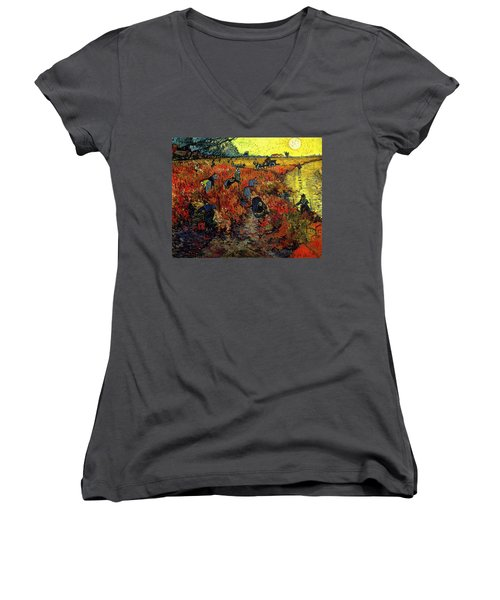 Women's V-Neck featuring the painting The Red Vineyard At Arles by Van Gogh