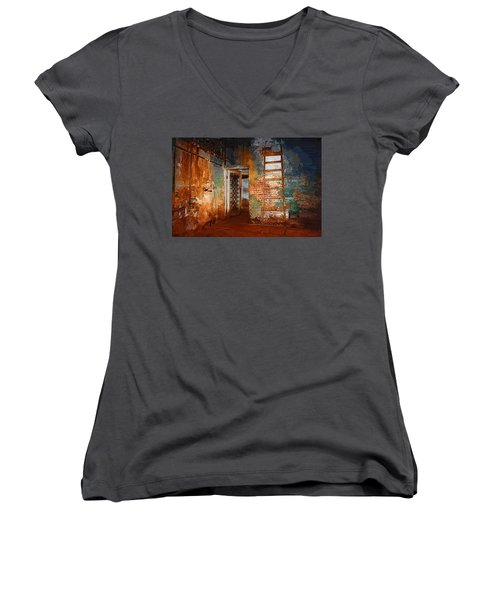 Women's V-Neck T-Shirt (Junior Cut) featuring the painting The Renovation by Holly Ethan