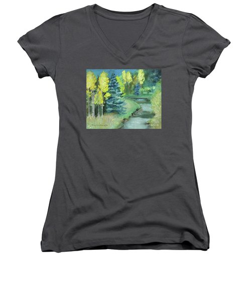Women's V-Neck T-Shirt featuring the drawing The Reunion  by Robin Maria Pedrero
