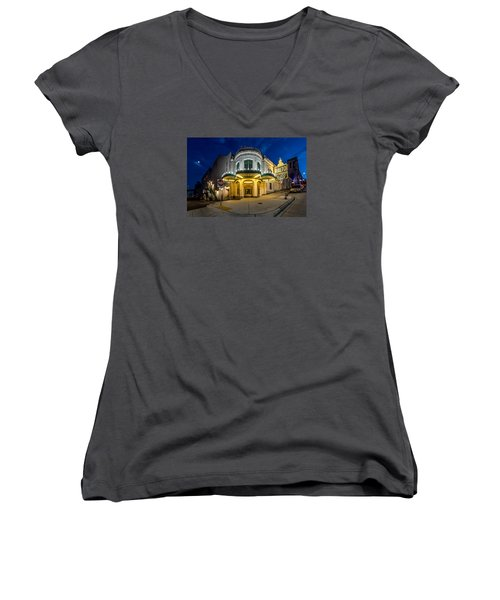The Rialto Theater - Historic Landmark Women's V-Neck T-Shirt (Junior Cut) by Rob Green
