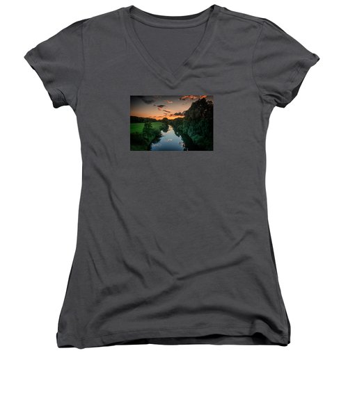The River Lippe In Lower Rhine Region Women's V-Neck (Athletic Fit)