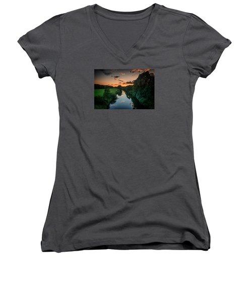 The River Lippe In Lower Rhine Region Women's V-Neck T-Shirt
