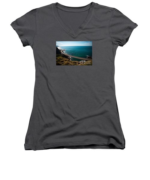 Women's V-Neck T-Shirt (Junior Cut) featuring the photograph The Road Above The Sea by Bev Conover