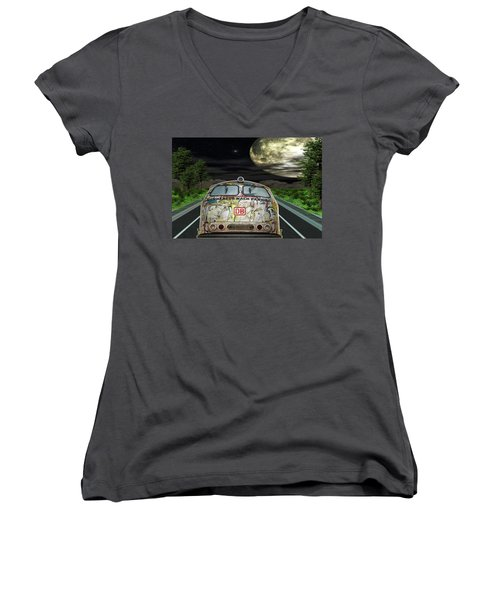 Women's V-Neck T-Shirt (Junior Cut) featuring the digital art The Road Trip by Angela Hobbs