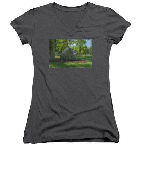 The Rock At Frothingham Park, Easton, Ma Women's V-Neck