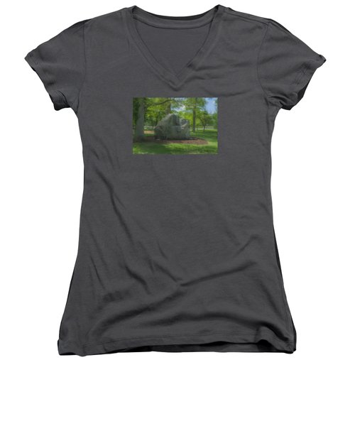 The Rock At Frothingham Park, Easton, Ma Women's V-Neck T-Shirt