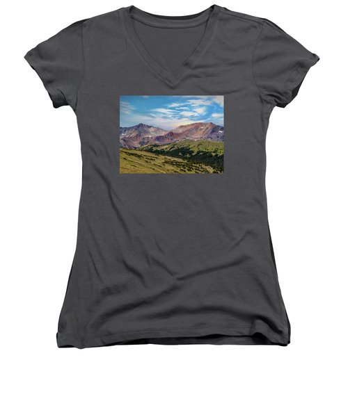 Women's V-Neck T-Shirt (Junior Cut) featuring the photograph The Rockies by Bill Gallagher