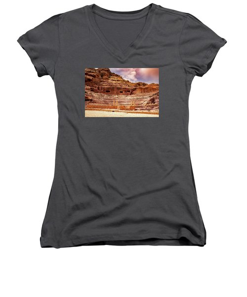 The Roman Theater At Petra Women's V-Neck