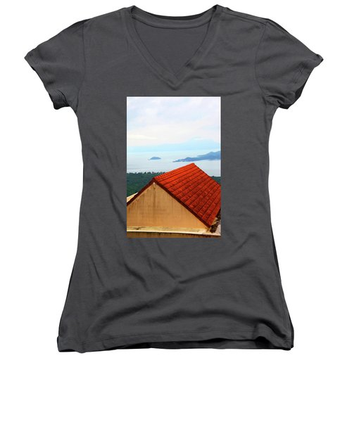 The Roof Be Told Women's V-Neck T-Shirt (Junior Cut) by Jez C Self