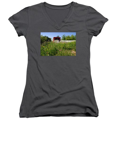 The Roseman Bridge In Madison County Iowa Women's V-Neck