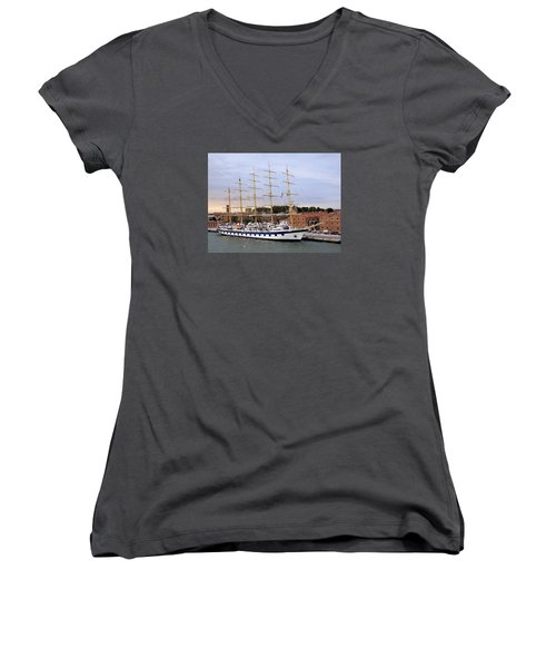 The Royal Clipper Docked In Venice Italy Women's V-Neck T-Shirt (Junior Cut) by Richard Rosenshein
