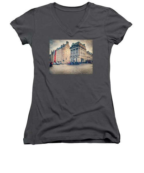 The Royal Mile Women's V-Neck T-Shirt (Junior Cut) by Ray Devlin
