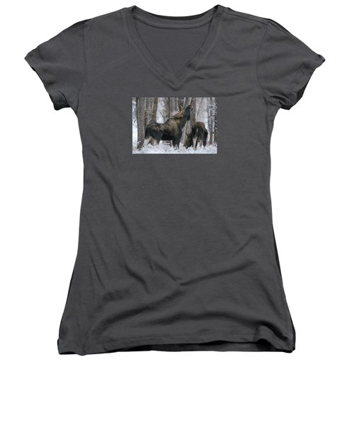 Women's V-Neck T-Shirt (Junior Cut) featuring the photograph The Rut by Gary Hall
