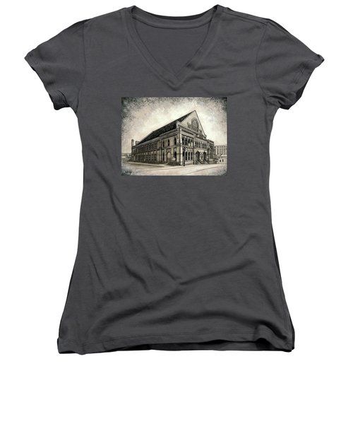 Women's V-Neck T-Shirt (Junior Cut) featuring the painting The Ryman by Janet King