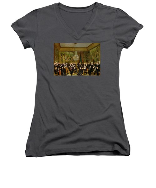 The Salon Of Alfred Emilien At The Louvre Women's V-Neck T-Shirt (Junior Cut) by Francois Auguste Biard