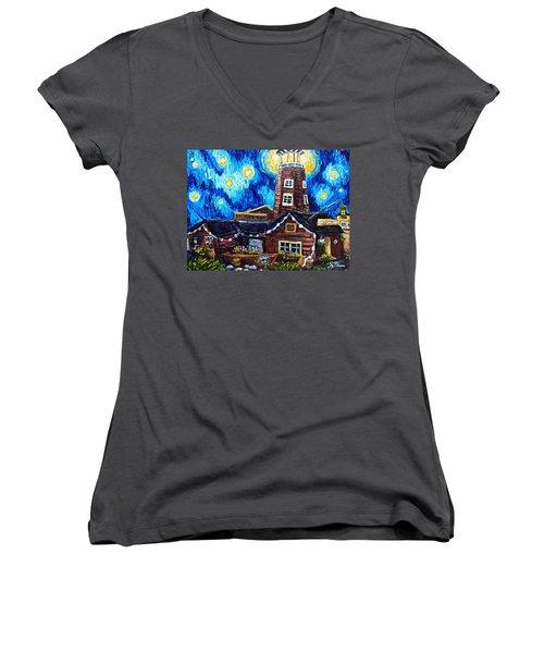 The Salty Dog Saloon Women's V-Neck T-Shirt (Junior Cut) by Sebastian Pierre