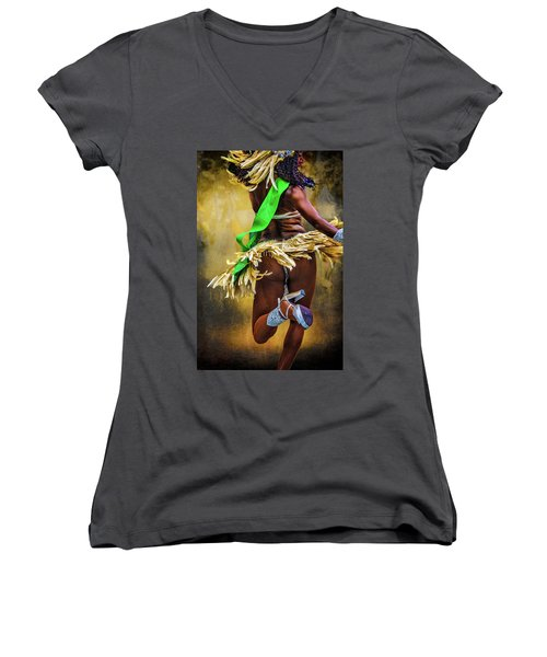 Women's V-Neck T-Shirt (Junior Cut) featuring the photograph The Samba Dancer by Chris Lord