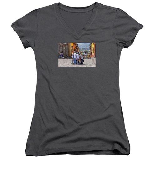 The San Miguel Selfie Women's V-Neck T-Shirt (Junior Cut) by John  Kolenberg
