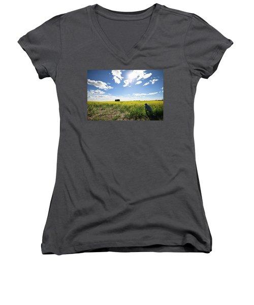 Women's V-Neck T-Shirt (Junior Cut) featuring the photograph The Saskatchewan Prairies by Ryan Crouse
