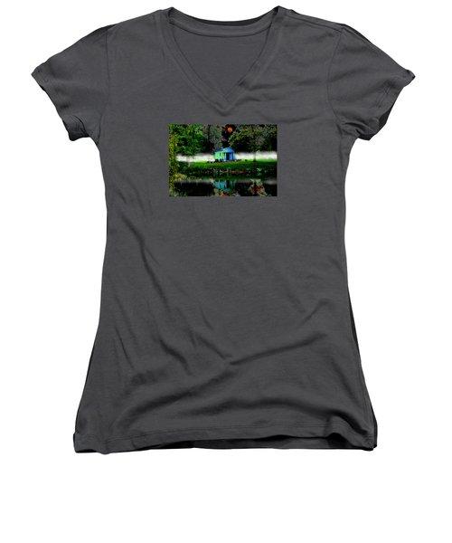 Women's V-Neck T-Shirt (Junior Cut) featuring the digital art The Cemetery  by Michael Rucker