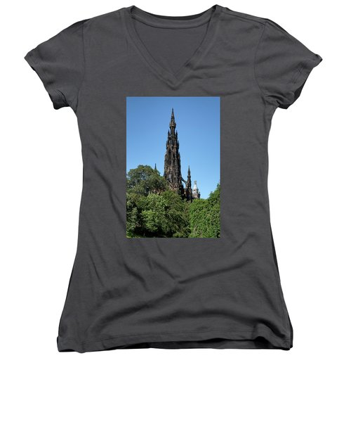 Women's V-Neck T-Shirt featuring the photograph The Scott Monument In Edinburgh, Scotland by Jeremy Lavender Photography