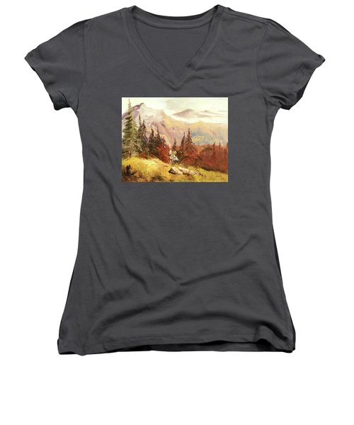 The Scout Women's V-Neck T-Shirt (Junior Cut) by Alan Lakin