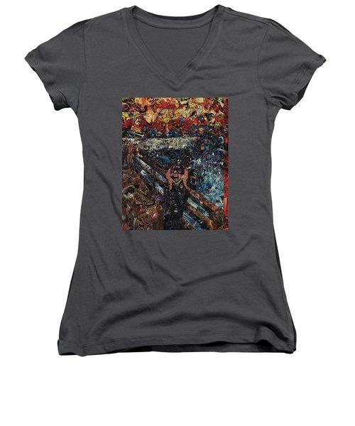 The Scream After Edvard Munch Women's V-Neck T-Shirt (Junior Cut) by Joshua Redman