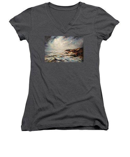 Women's V-Neck T-Shirt (Junior Cut) featuring the painting The Sea  by AmaS Art