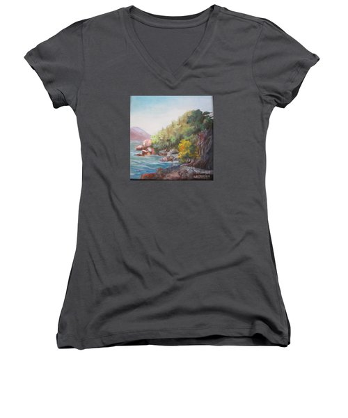 The Sea And Rocks Women's V-Neck T-Shirt (Junior Cut)