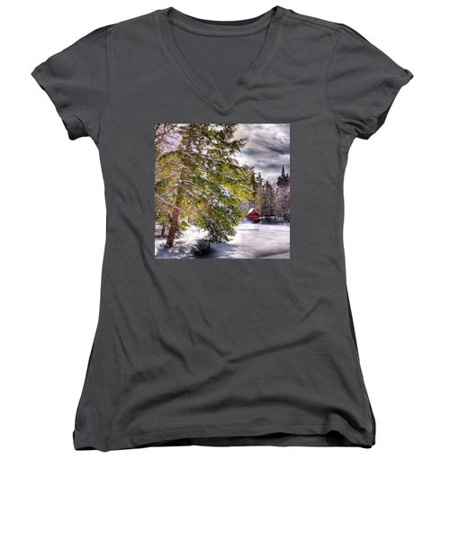 Women's V-Neck T-Shirt (Junior Cut) featuring the photograph The Secluded Boathouse by David Patterson