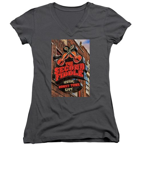 Women's V-Neck T-Shirt (Junior Cut) featuring the photograph The Second Fiddle Nashville by Stephen Stookey