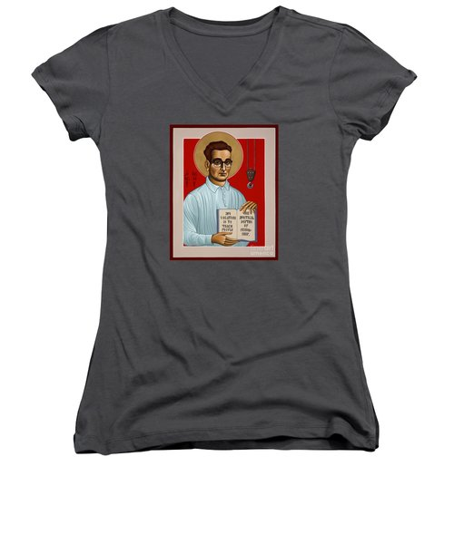 Women's V-Neck T-Shirt featuring the painting The Servant Of God Egide Van Broeckhoven Sj 051 by William Hart McNichols