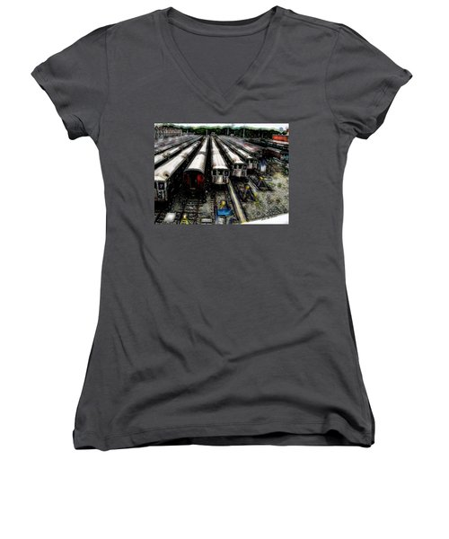 Women's V-Neck T-Shirt (Junior Cut) featuring the photograph The Seven Train Yard Queens Ny by Iowan Stone-Flowers