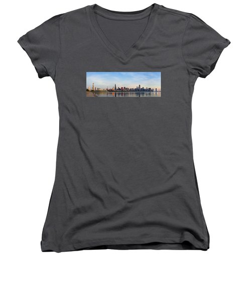 The Skyline Of Chicago At Sunrise Women's V-Neck