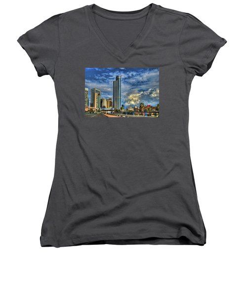 The Skyscraper And Low Clouds Dance Women's V-Neck T-Shirt (Junior Cut) by Ron Shoshani