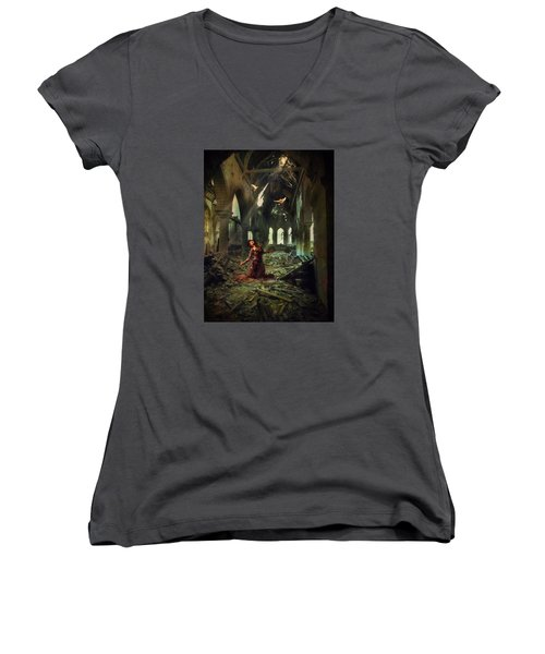 The Soul Cries Out Women's V-Neck T-Shirt (Junior Cut) by John Rivera