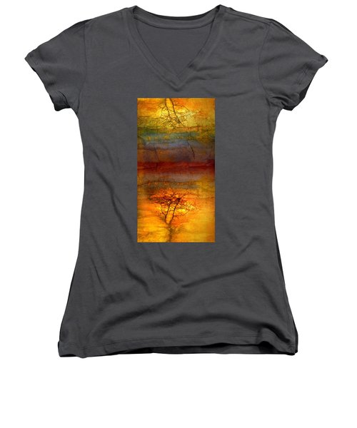 The Soul Dances Like A Tree In The Wind Women's V-Neck T-Shirt (Junior Cut)