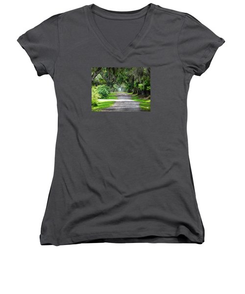The South I Love Women's V-Neck T-Shirt (Junior Cut) by Patricia Greer
