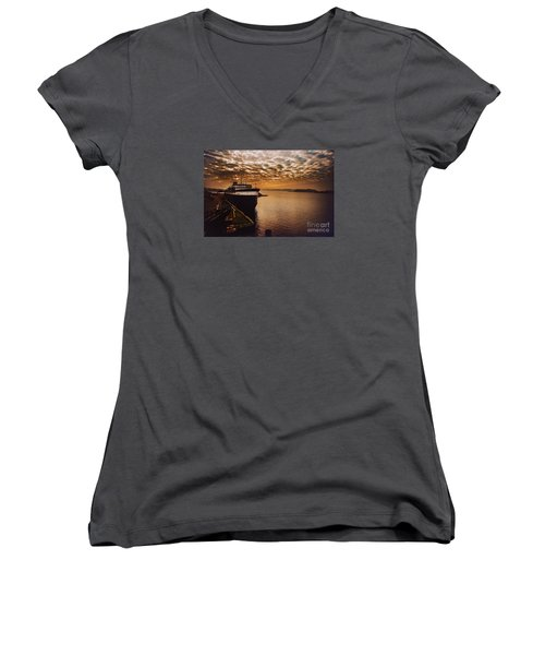 The Spartan Women's V-Neck T-Shirt (Junior Cut) by Randall  Cogle