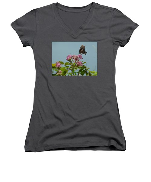 Women's V-Neck T-Shirt (Junior Cut) featuring the photograph The Spicebush Swallowtail Of Prettyboy Reservoir by Donald C Morgan