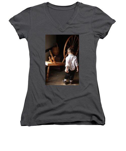 The Spinning Wheel Women's V-Neck T-Shirt (Junior Cut) by Emanuel Tanjala