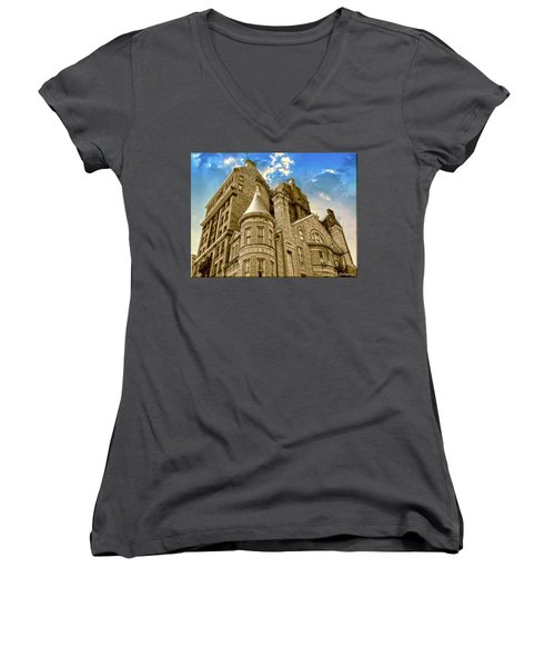 Women's V-Neck T-Shirt (Junior Cut) featuring the photograph The Stafford Hotel by Brian Wallace