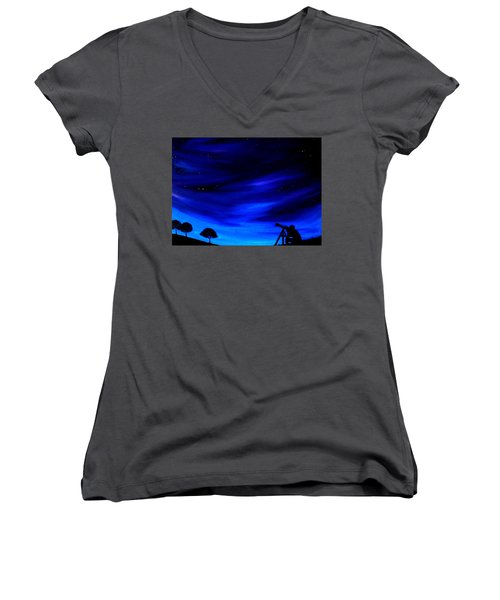 The Star Gazer Women's V-Neck T-Shirt (Junior Cut) by Scott Wilmot