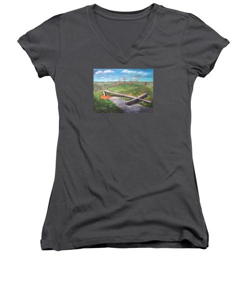 Millsfield Tennessee Steel Cross Women's V-Neck T-Shirt (Junior Cut) by Randy Burns