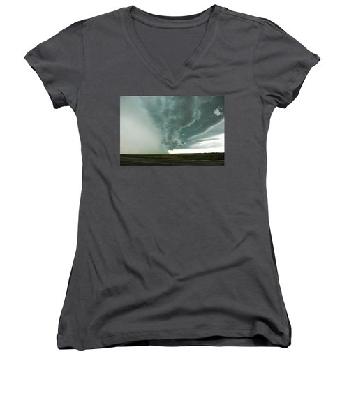 Women's V-Neck T-Shirt (Junior Cut) featuring the photograph The Stoneham Shelf by Ryan Crouse