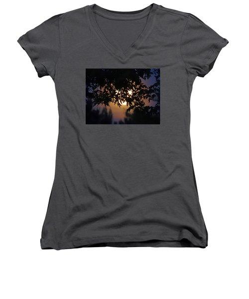 The Strawberry Moon Women's V-Neck T-Shirt (Junior Cut) by Judy Johnson