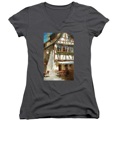 Women's V-Neck T-Shirt (Junior Cut) featuring the painting The Streets Of Strasbourg by Dmitry Spiros
