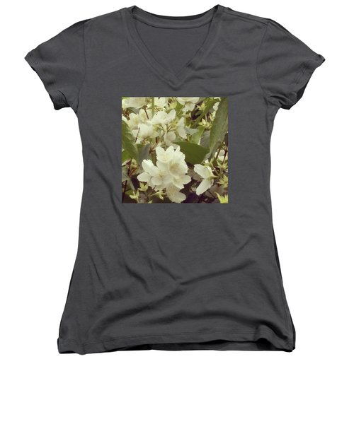 The Summer Smells Like A Mock Orange Women's V-Neck T-Shirt (Junior Cut) by Arletta Cwalina