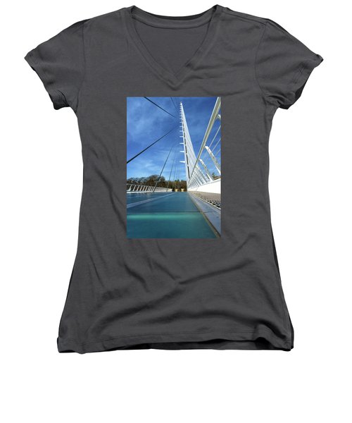 Women's V-Neck T-Shirt featuring the photograph The Sundial Bridge by James Eddy